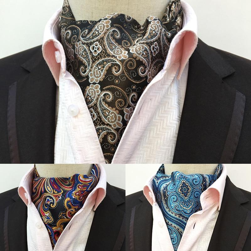 JEMYGINS Keyfiyyətli Kişi Ascot Boyunbağı Vintage Paisley Floral Jakard İpək Necktie Cravat Tie Scrunch Self British stil Zərif