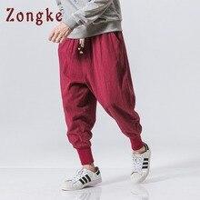 Zongke/штаны-шаровары в китайском стиле, мужские спортивные штаны для бега, хлопковые льняные брюки-карандаш, мужские брюки, уличная одежда, мужские штаны
