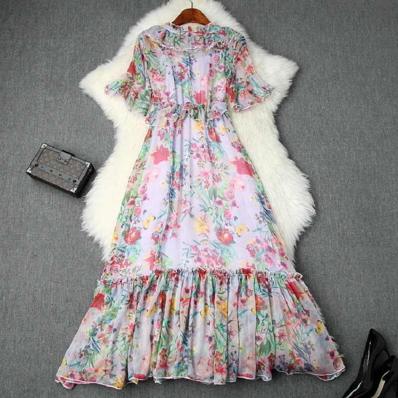 Милые вечерние платья с v-образным вырезом и принтом, украшенные бисером, новинка 2019 года, женская одежда, летнее тонкое платье с оборками, шифоновые длинные платья с цветочным принтом