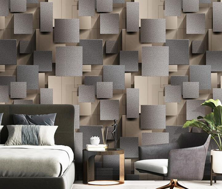 Contemporary Simple 3D Square Marble TV Background Wallpaper Bedroom Living Room Deer Fur Wallpaper