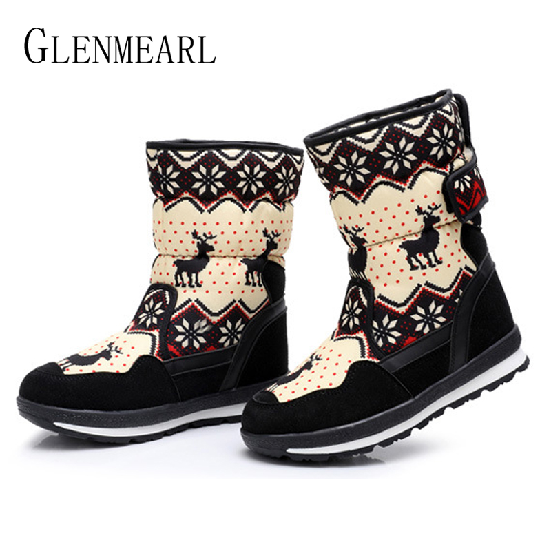 Snow Boots Winter Ankle Boots Women Shoes Fur Warm Plush Female Casual Shoes Platform Slip On Plus Size Waterproof Ladies Boot