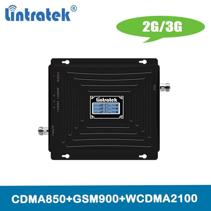 Amplificateur répétiteur Lintratek TriBand 850/900/2100 mhz 2G 3G amplificateur de Signal cellulaire Mobile 3G CDMA 850 2100 900 répéteur @ 4.9