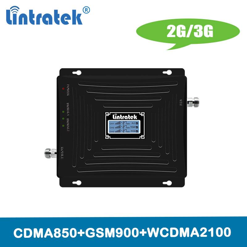 Lintratek TriBand <font><b>850</b></font>/900/2100mhz Repetidor Amplifier 2G 3G Mobile Cellular Signal Booster 3G CDMA <font><b>850</b></font> <font><b>2100</b></font> 900 Repeater @4.9 image