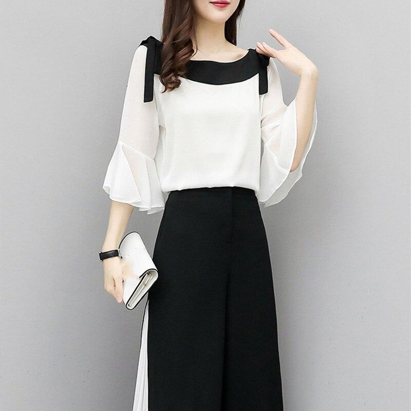 2019 Fashion Elegant 2 Pieces Suits Chiffon Flare Blouse Wide Leg Pants Sets Black White Two Pieces Sets 5