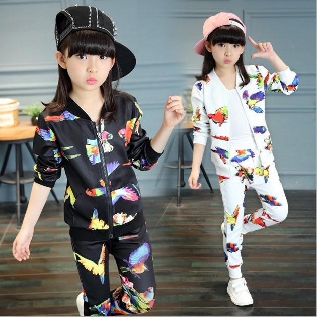 2017 Top Brand Kids Clothes Girls Baby Spring Coats And Jackets Pants Set Butterfly Print Children Clothing Sports Suit For Girl  недорого