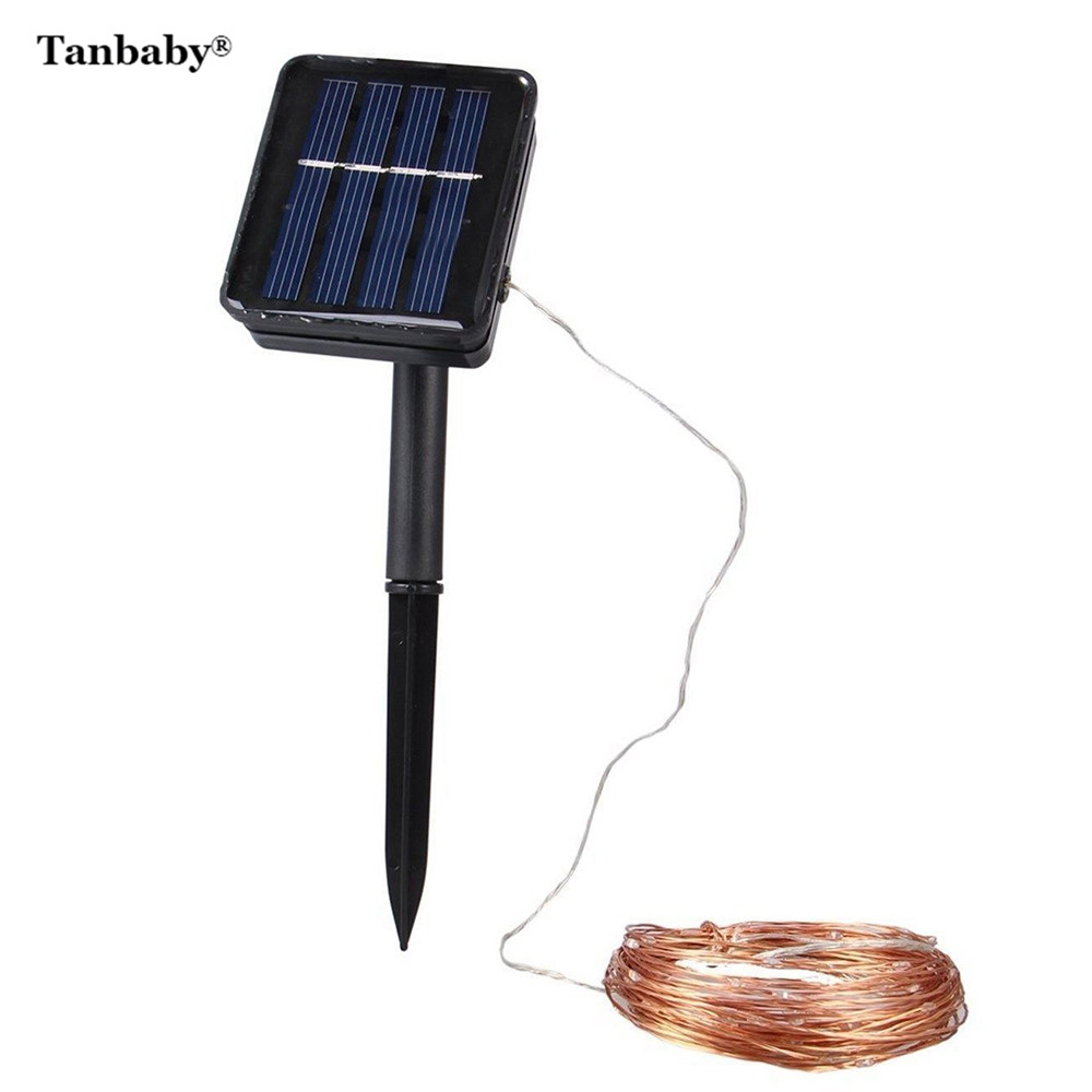 Tanbaby 20M 200 Leds Solar Light Copper Wire String Lamp