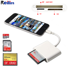 Reilim SD CF TF card reader USB Micro SD adapter photo video SLR Camera converter for lightning iPhone iPad IOS 13 цены