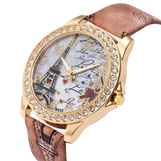 Aimecor Fashion Bohemian Wind Vintage Paris Eiffel Women Watch Crystal Leather Quartz Wristwatch