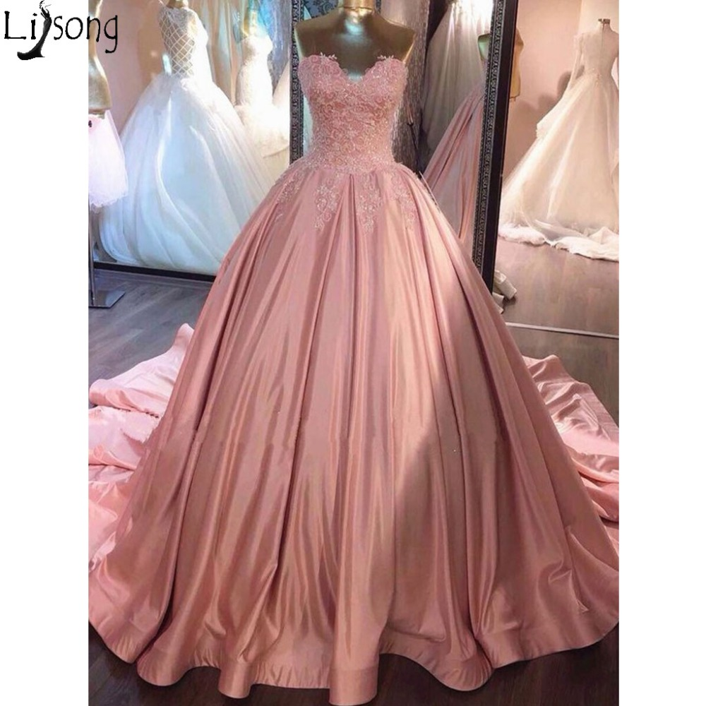 Sweetheart Neck Pink Lace   Prom     Dresses   Ball Gown Floor Length Elegant Evening Formal   Dress   Long Wear Robe de soiree Abendkleider