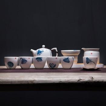Hand-painted green-load tea set white porcelain kung fu tea set ceramic teapot tea cups 6 people custom logo
