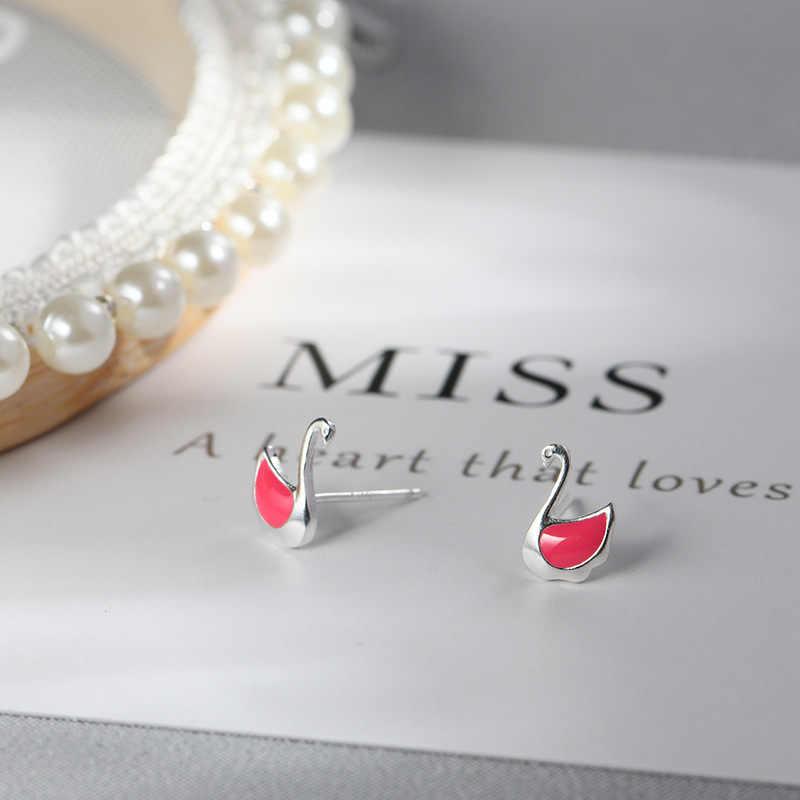 Lidavi 925 Стерлинговое серебро супер милые розовые серьги в форме лебедя Эмаль серьги-шпильки для женщин вечерние Подарки Девушка ювелирные изделия Новинка VES6245