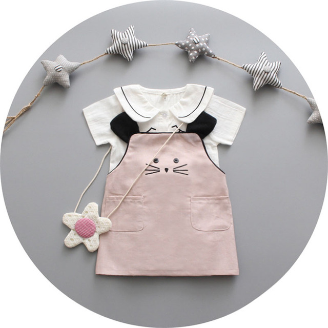 2016 новое поступление Vestido Infantil кошка халат княгини Enfant летнее платье девушки принцесса девочка одежда малыша девушка платья