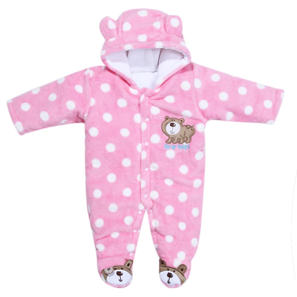Children's Winter Rompers Overall for Kids Pink Blue Warm Coral Velvet Long Sleeve Jumpsuit Bear Baby Clothes for Kids pink coral