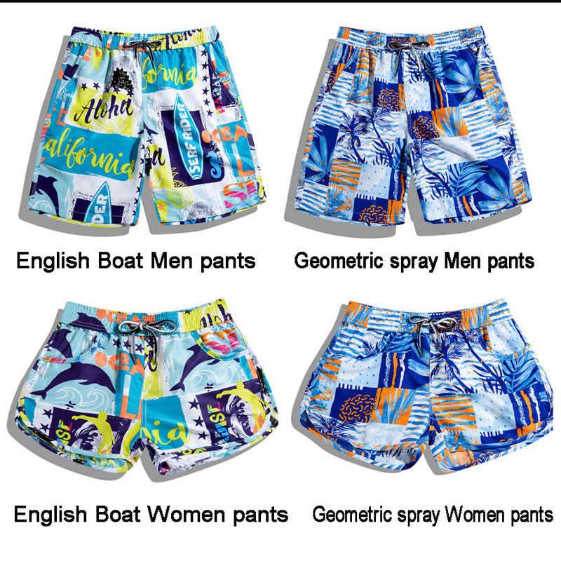 Nova Impressão Inglês Barco Tailândia Casal Trajes de Banho Das Mulheres Dos Homens de Praia Shorts Soltos Praia Quick Dry Calções de Surf Tamanho Grande homens