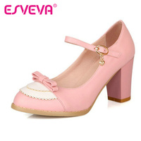 2015 Summer Bow Women Shoes Square High Heel Women Pump Ankle Strap Sweet Ladies Wedding Shoes