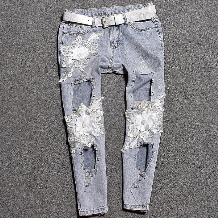New Ripped flower sequin Jeans Women Mid Waist Sexy Vintage Hole Jeans Women Slim Casual Loose Denim ankle length Pants