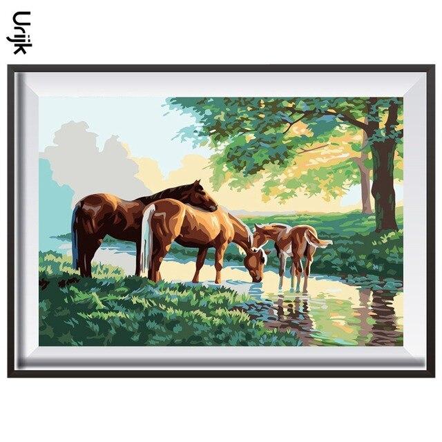 abbastanza Urijk Colorazione Arti Della Parete Quadri Alberi E Tre Cavalli  LH96
