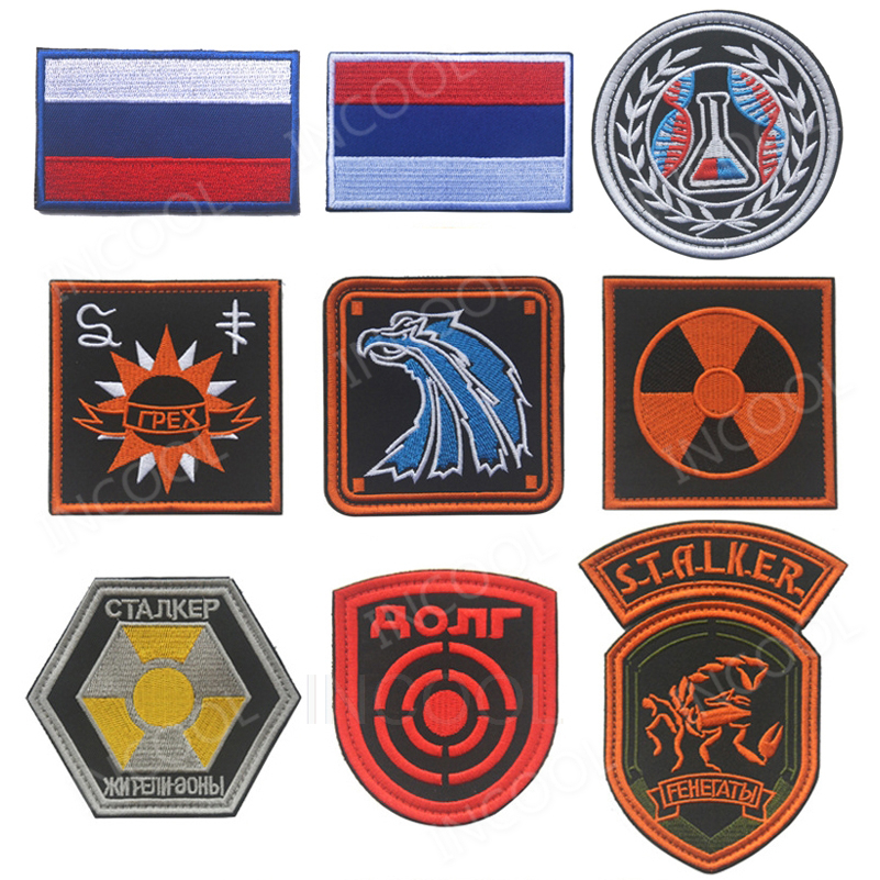 Russian Russia Sun Scorpion Eagle Nuclear Radiation Target Beaker Embroidered Morale Patches Tactical Emblem Embroidery Badges emblem