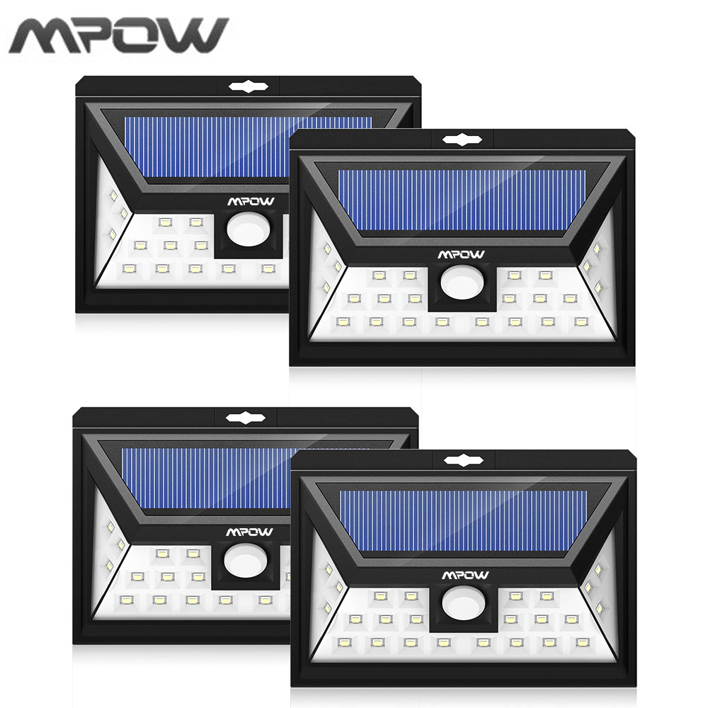 Mpow 24 Led Solar Lamp Security Motion Sensor Wide Angle Light Garden Yard Wall Eco-friendly Solar-powered Outside Wall Lights solar powered lights with motion sensor lamp dual head spotlight led solar lamps 14leds wall light for yard garden auto on off