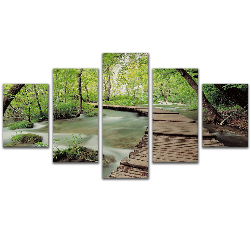 Unframed 5 HD Canvas Prints Boardwalk Forest Giclee Modular Picture Prints Wall Pictures For Living Room Wall Art Decoration