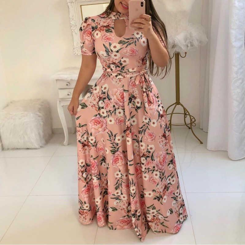 Women Long Maxi Dress Summer Floral Print Bohemian Beach Dress Casual Short Sleeve Bandage Party Dress Plus Size Vestidos