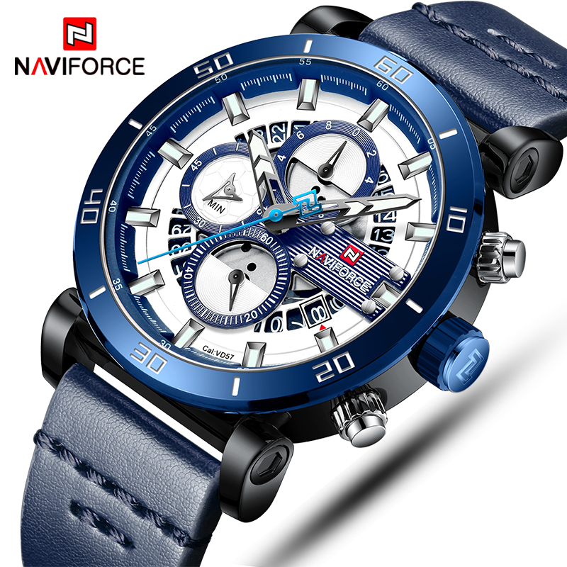 NAVIFORCE Mens Sports Watches Men Top Brand Luxury Leather Quartz Automatic Date Clock Male Army Military Waterproof Wrist Watch