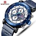NAVIFORCE relojes deportivos para hombre, reloj de pulsera de cuero de lujo para hombre, reloj de fecha automático, resistente al agua, militar, para hombre