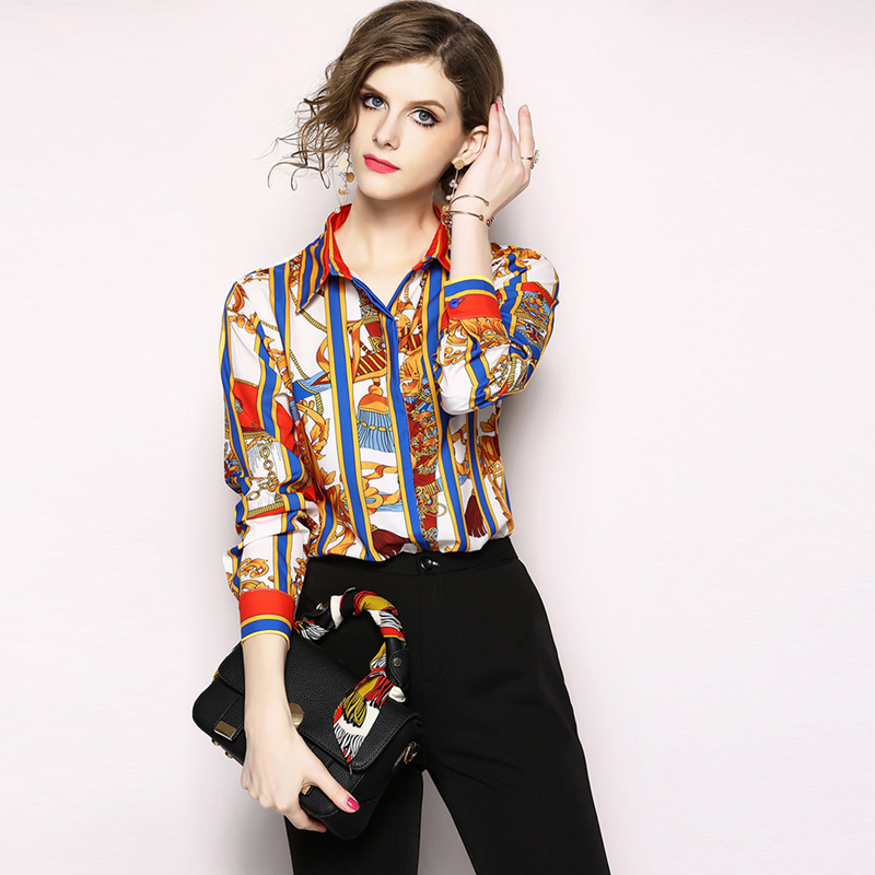 c6428256ea5eeb New Trendy 2019 Spring Womens Tops and Blouses Fashion Runway Designers  Long Sleeve Leopard Print Baroque Shirt Office Blusas