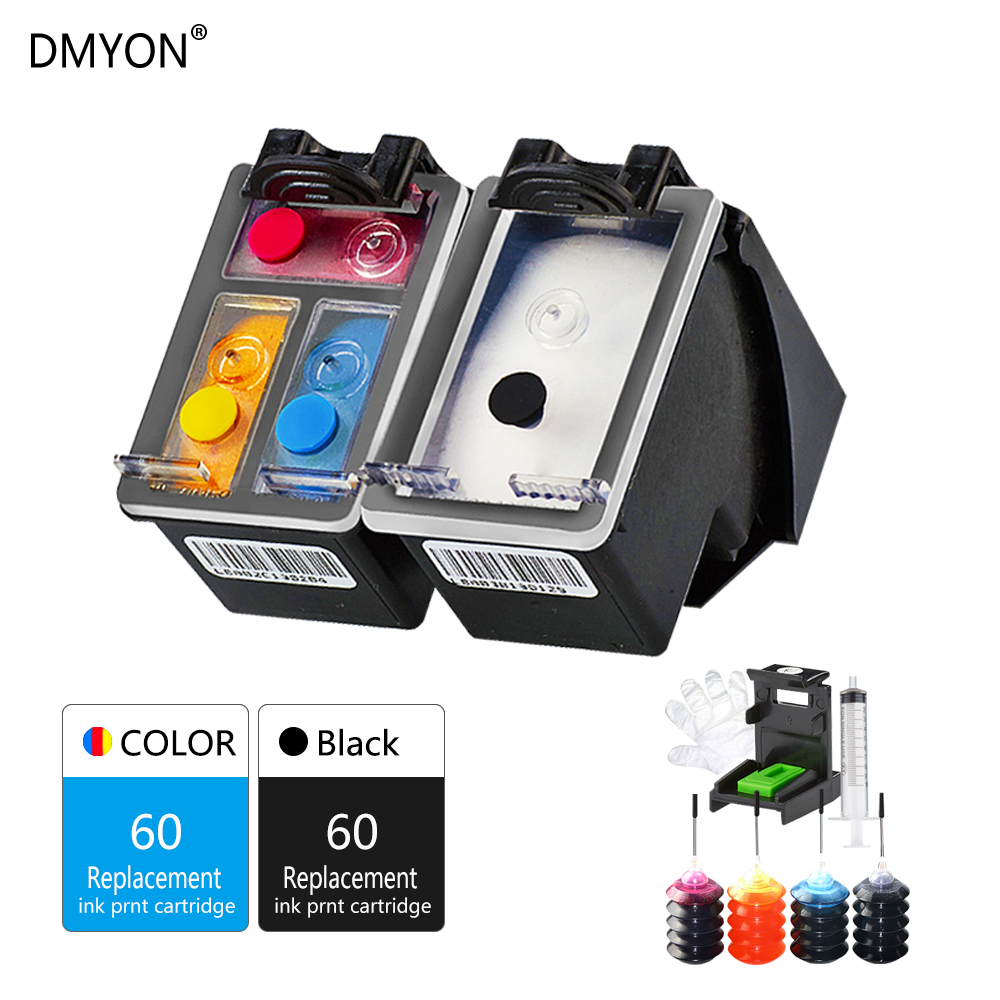 DMYON Refillable Ink Cartridge Replacement for HP 60 60XL Ink Cartridge for Deskjet 4400 F4440 F4480