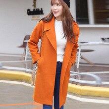 2016 Korean version of the women's fashion loose suit collar woolen coat long woolen woolen coat B257