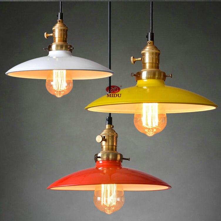 Colorful Metal Warehouse Vintage Pendant Lamp Iron
