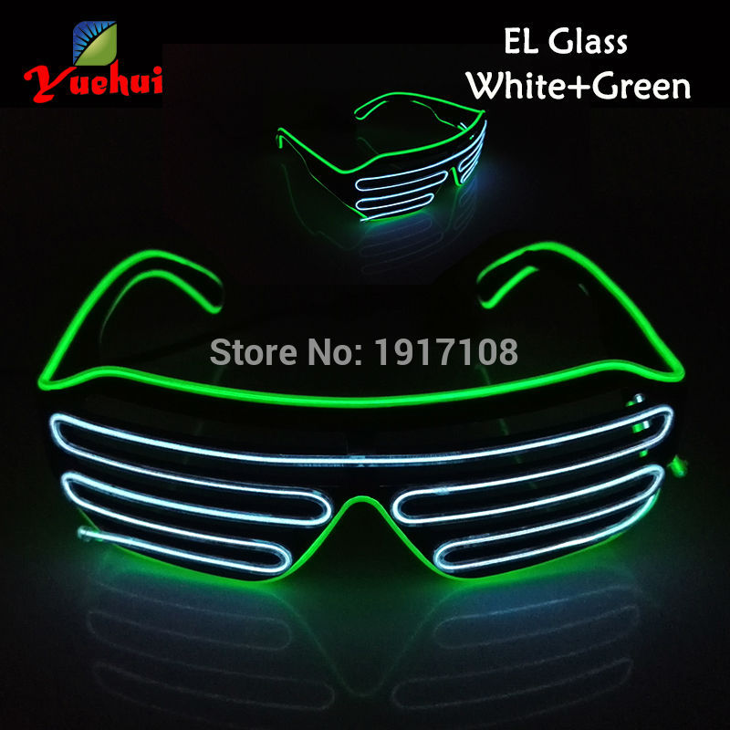 17 Type Fashion Twin Color LED shutter Glasses Sound active Party decorative EL Glasses Powered by AA battery For Wedding decor