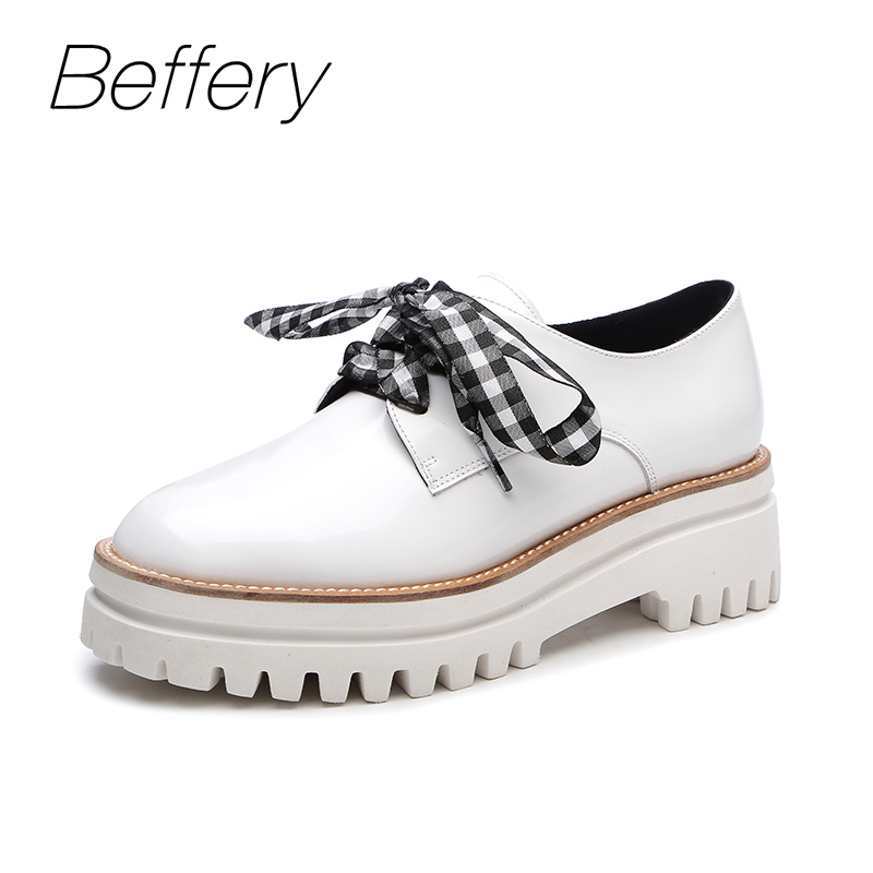 Beffery 2018 British Style Patent Leather Flat Shoes Fashion Thick bottom Platform Shoes For Women Lace-up Casual Shoes A18A309 beffery 2018 spring patent leather shoes women flats round toe casual shoes vintage british style flats platform shoes for women