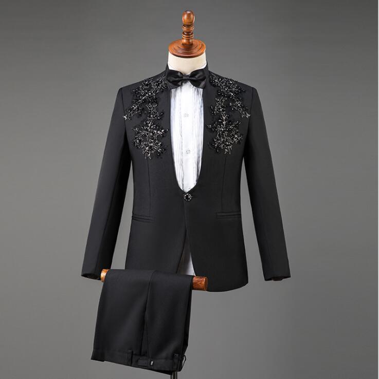 Blazer Men Stand Collar Sequins Latest Coat Pant Designs Marriage Suit Men Terno Masculino Trouser Wedding Suits Men's Black