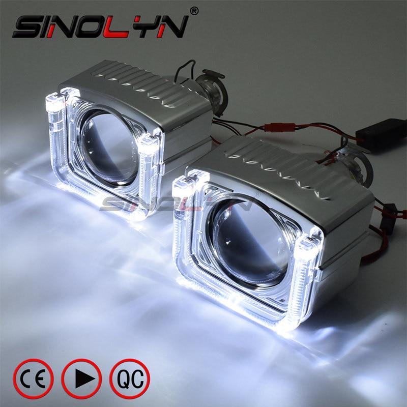 Bi-xenon Lens Projector Headlight LED Angel Devil Eyes Lenses 2.5'' Mini 8.0 For H4 H7 Auto Cars Headlamp Retrofit Use H1 HID