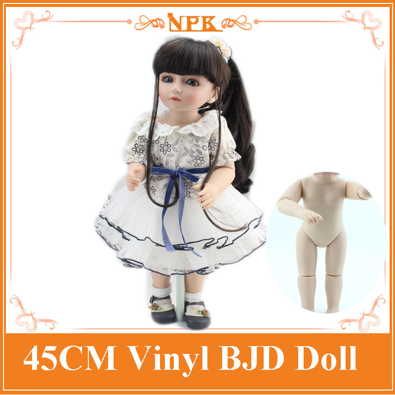 Wholesale ! High End Girl Brinquedos 18'' Doll Reborn Baby BJD/SD Doll With Long Hair Hot Toys For Girls As Christmas Gift