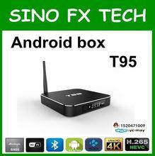 Preço de fábrica caixa de tv quad core A53 Penta-core GPU s905 T95 amlogic caixa de tv android com bluetooth 2g 8g
