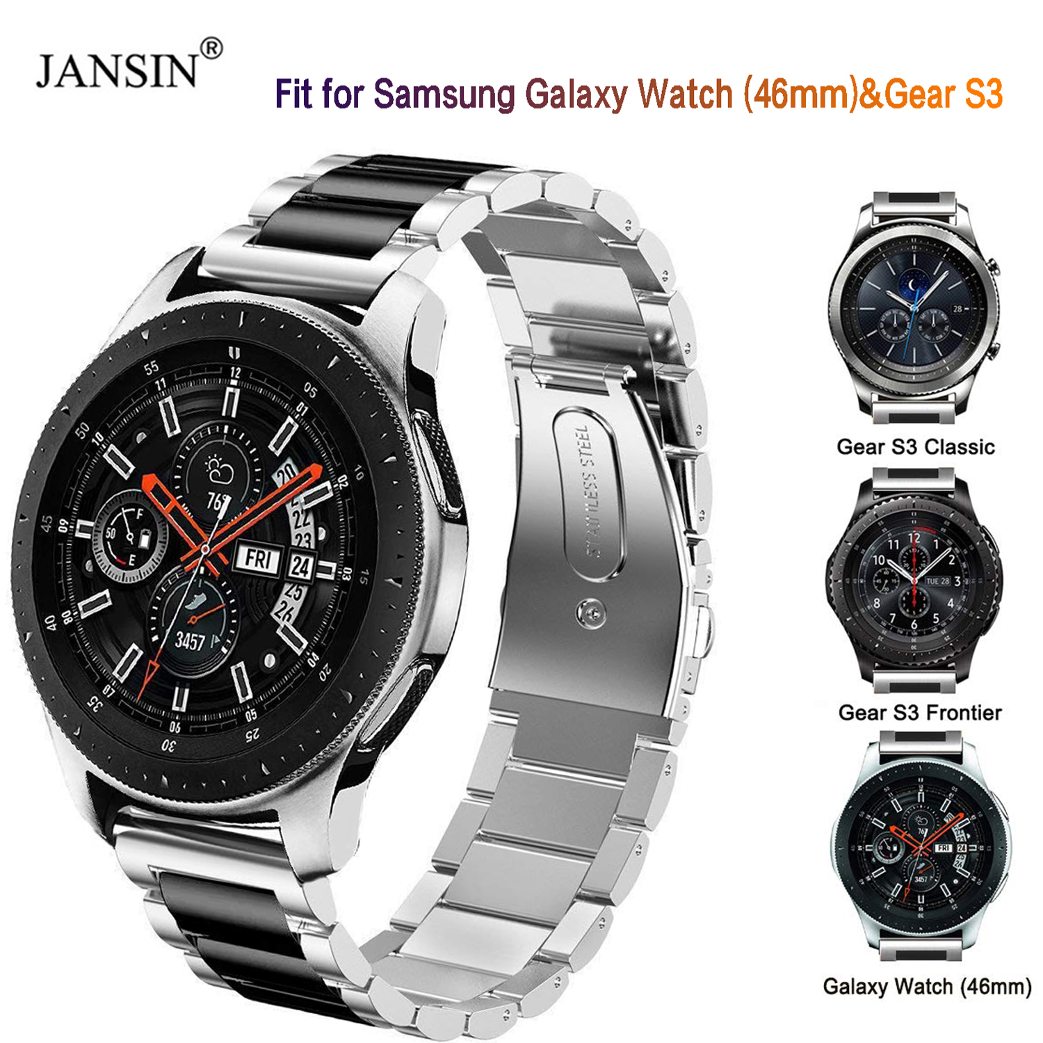 JANSIN Stainless Steel Metal Strap For Samsung Galaxy Watch 46mm/Gear S3 Frontier/S3 Classic Watchband Wrist Bracelet StrapJANSIN Stainless Steel Metal Strap For Samsung Galaxy Watch 46mm/Gear S3 Frontier/S3 Classic Watchband Wrist Bracelet Strap