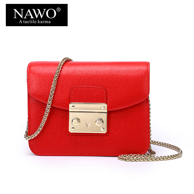NAWO Real Genuine Leather Women Crossbody Bag Famous Designer Messenger Bag Sequined Ladies Shoulder Bag Mini Chains Women bags