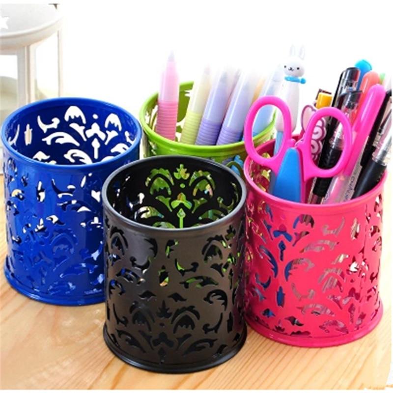 Mini round square Metal hollow grid pattern pen holder office desktop mini wastebasket trash organization storage