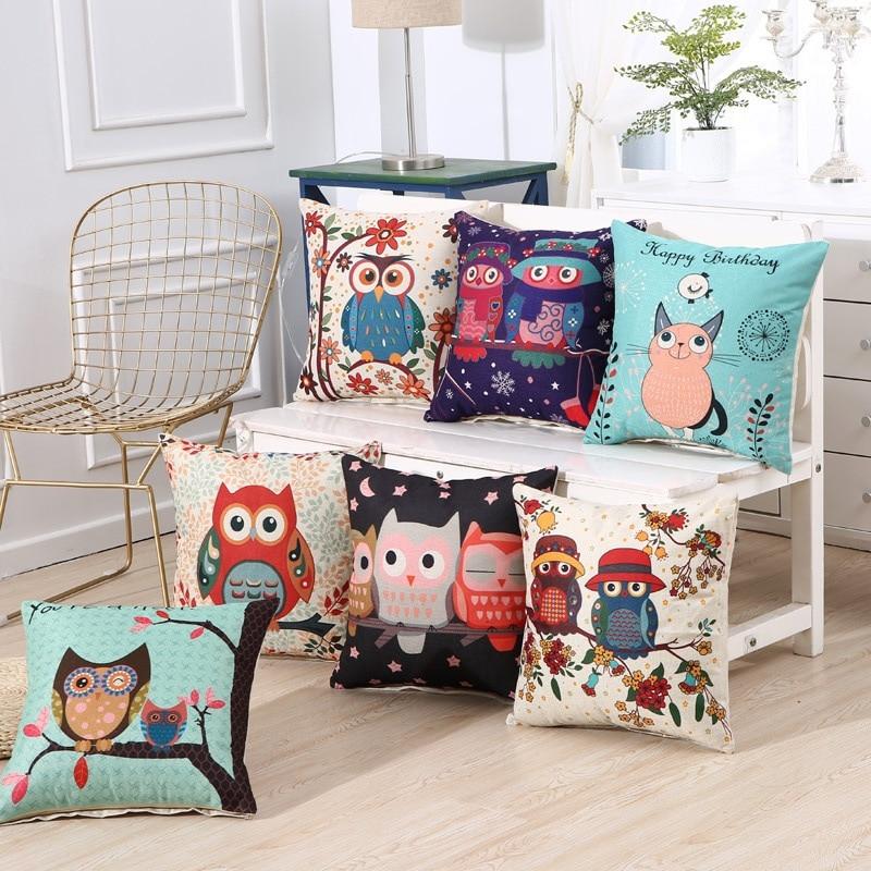 Square Pillow Case Cute Cartoon Animal Cushion Cover Car Pillows Home Decoration Cojines Decorativos Para Sofa Children Gifts