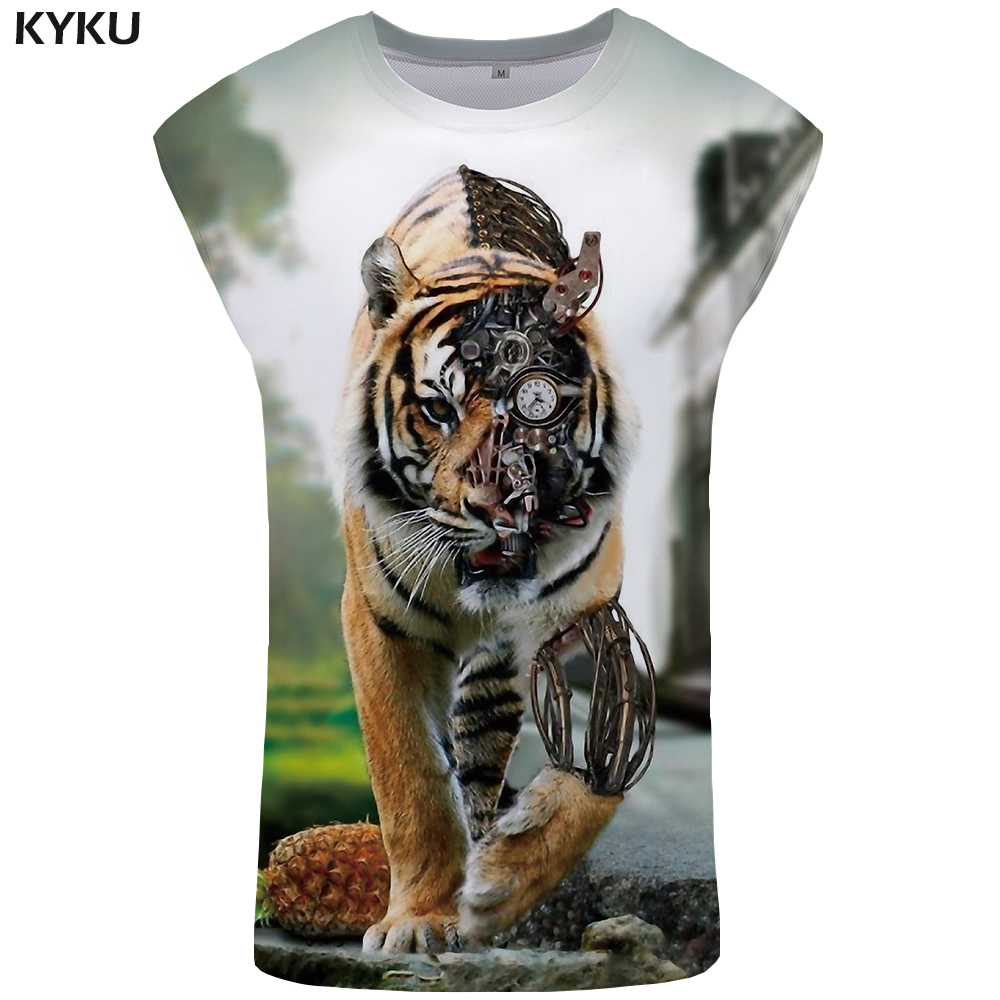 KYKU Brand Tiger   Tank     Top   Men Mechanical Singlet Punk Mens Bodybuilding Funny Ftness Clothing Animal Stringer Vest