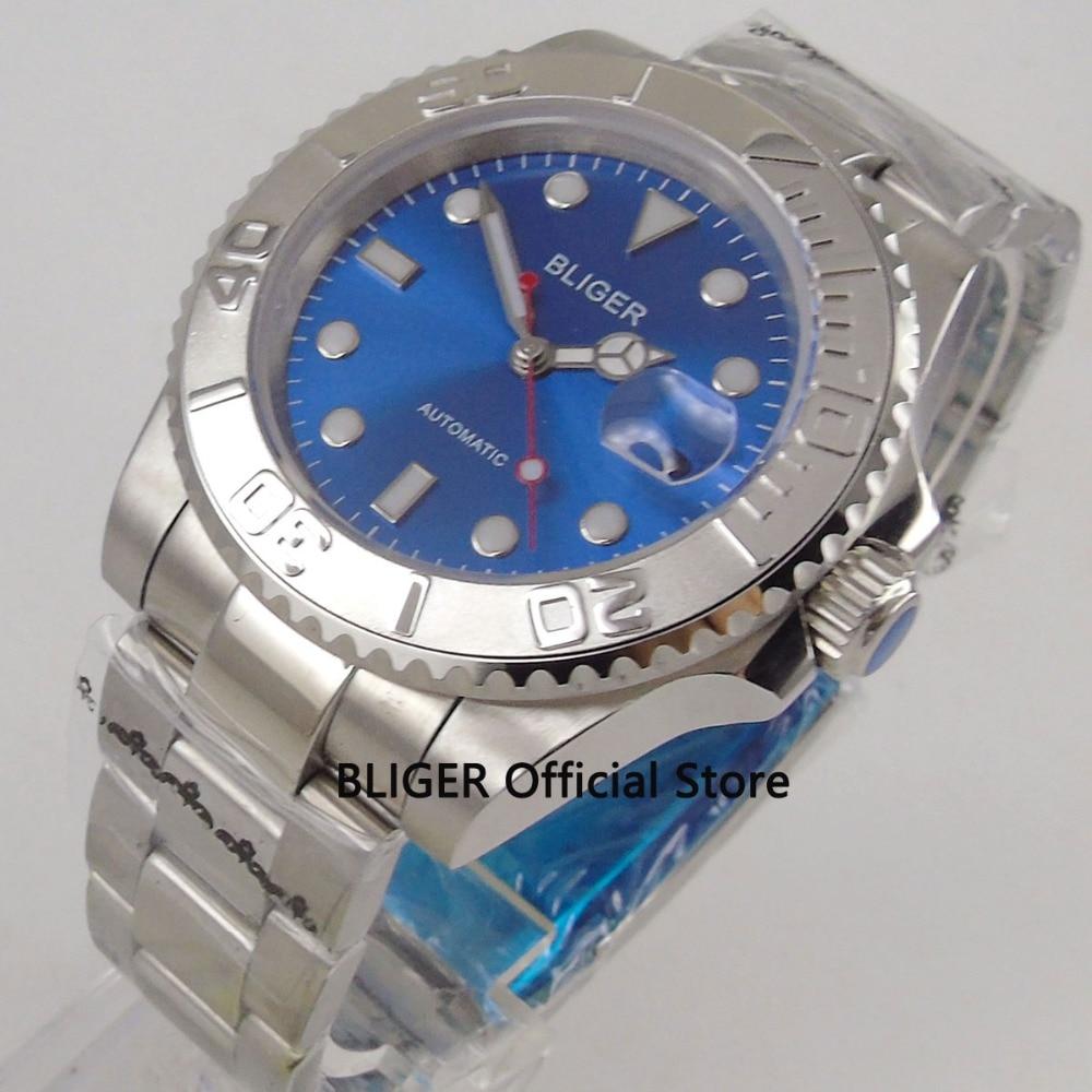 лучшая цена BLIGER 40mm blue dial silver ceramic bezel men's watch luminous marks sapphire glass MIYOTA automatic movement wrist watch men