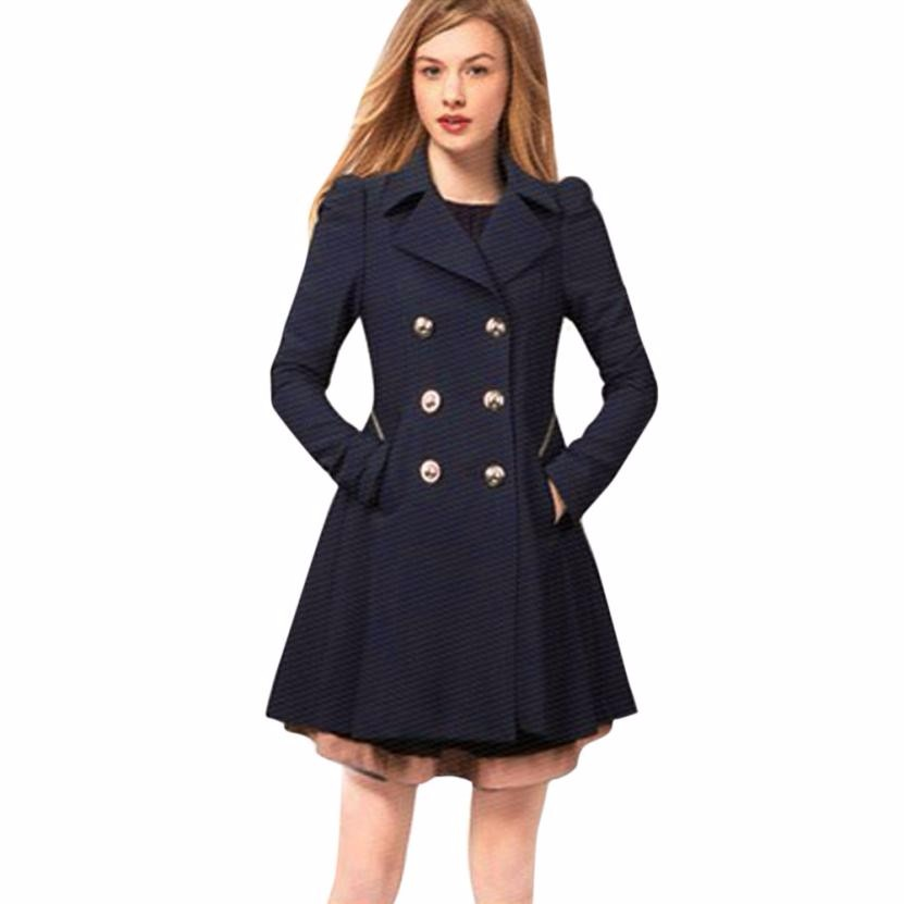 96754d3db60 FEITONG Autumn Winter Trench Coat for Women Adjustable Waist Slim Solid  Black Coat White Long Trench Female Outerwear Plus Size