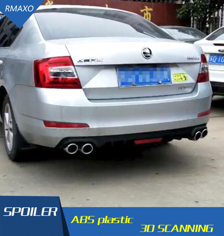 For Octavia Rear spoiler ABS Rear Bumper Diffuser Bumpers Protector For Skoda Octavia After chrome lip