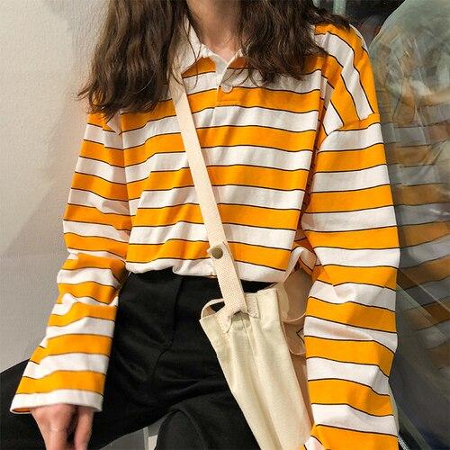 Suelto Casual rayas Vintage básicos todo encuentro de la Universidad viento manga larga cuello las mujeres Camisetas básicas