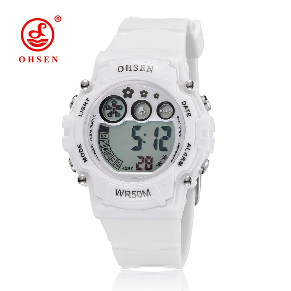 New 2016 OHSEN White Rubber Band Digital LED Wristwatch Boys Kids 50M Waterproof Outdoor Sport Cartoon Children Watches Gifts