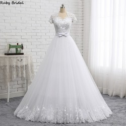 Ruby Bridal 2019 Elegant Vestido De Noiva Short Sleeve Ball Gown Wedding Dresses White Tulle Appliques Beaded Bridal Gown PW1902 3