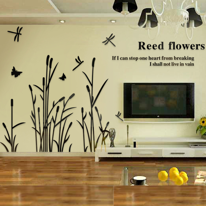 Romantique cristal stickers muraux libellule vol pays nature vue roseau libellule cadeau pour la décoration