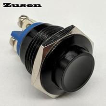 Zusen Новый 16 мм Мгновенный черный металлический кнопочный водонепроницаемый переключатель